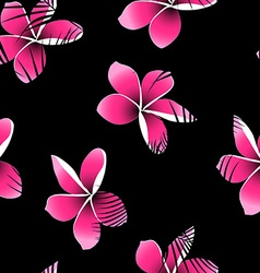 Tropical palm leaves over pink frangipani seamless vector