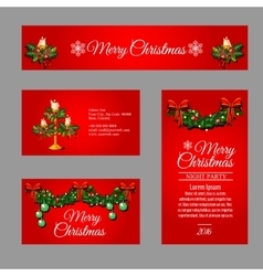 Christmas red cards different sizes and shapes vector
