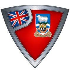 Steel shield with flag falkland islands vector