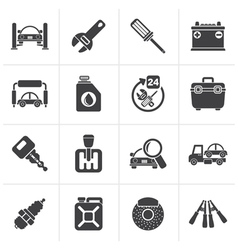 Black Car parts and services icons vector image