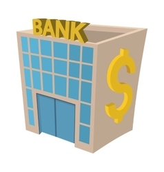Bank building iconcartoon style vector