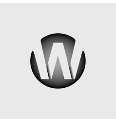 Letter w made of wide white stripes vector
