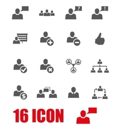 Grey office people icon set vector