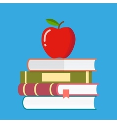 Red apple on a pile of books vector