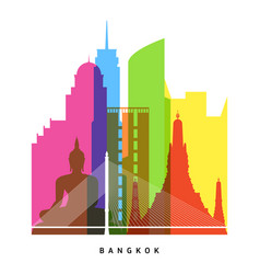bangkok landmarks bright collage vector image vector image
