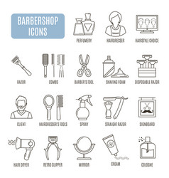 Barbershop icons set of pictogram vector