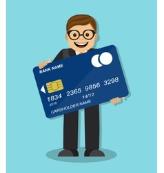 businessman holding a credit card vector image