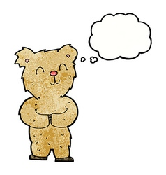 Cartoon happy little bear with thought bubble vector