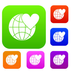 earth world globe with heart set collection vector image vector image