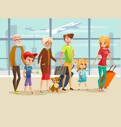 family travel in airport of vector image