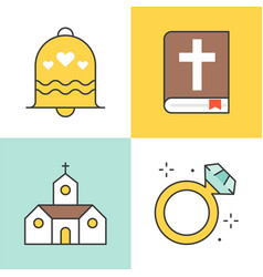 Filled outline icon wedding at church topic vector