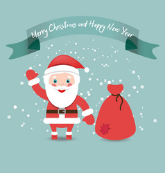 Funny Santa Claus with bag in red suit under snow vector image