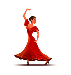 girl in red dress dancing traditional dance vector image