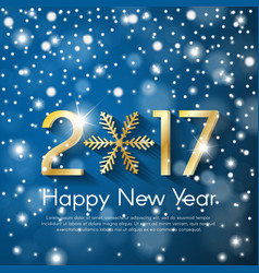 Golden new year 2017 concept on blue snow blurry vector