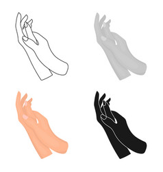 Hands moisturizing icon in cartoon style isolated vector