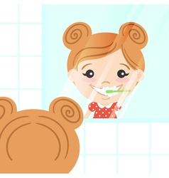 Happy cute girl cleaning her teeth with toothpaste vector