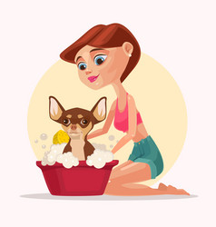 happy smiling dog character takes bath with woman vector image vector image