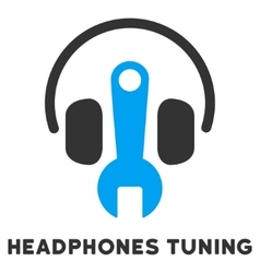 Headphones Tuning Flat Icon with Caption vector image