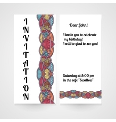Invitation with abstract hand drawn pattern vector image vector image