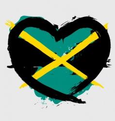 Jamaica heart shape flag vector image vector image
