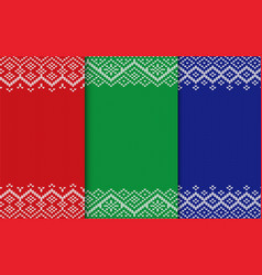 knitted geometric christmas backgrounds set of vector image
