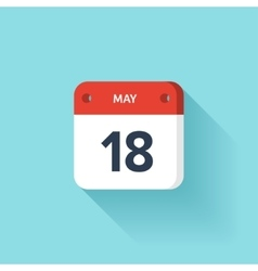 May 18 isometric calendar icon with shadow vector