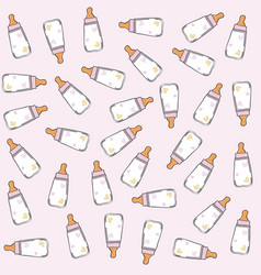 Pink seamless pattern with milk bottles vector
