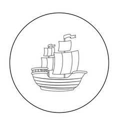 pirate ship icon in outline style isolated on vector image
