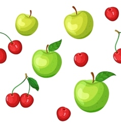 seamless pattern with cherries and apples vector image