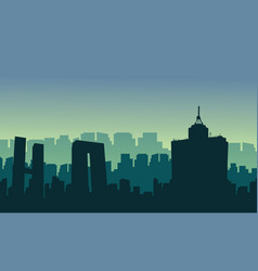 Silhouette of mexico city scenery at sunrise vector
