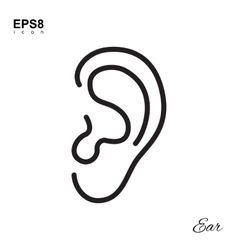 Simple human ear icon vector