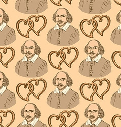 Sketch shakespeare and hearts in vintage style vector