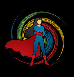 super hero woman standing arms across the chest vector image