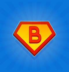 Superhero logo icon with letter b on blue vector