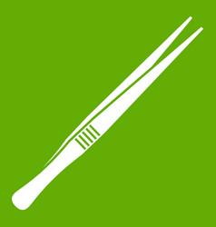 Tweezers icon green vector