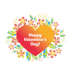 valentine decorative element with heart and flower vector image vector image