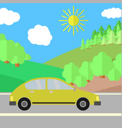 Yellow car on a road on a sunny day vector