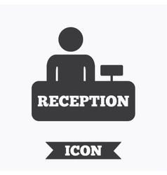 Reception sign icon hotel registration table vector