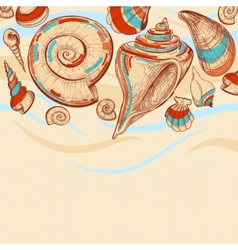 Beach background with sea shells vector