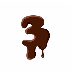 Number 3 from latin alphabet made of chocolate vector image