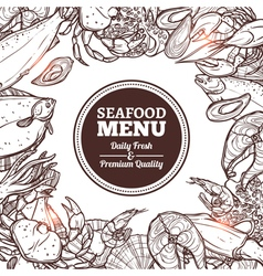 Seafood sketch menu vector