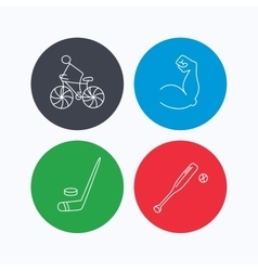 Biking biceps and ice hockey icons vector