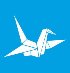 Bird origami icon white vector