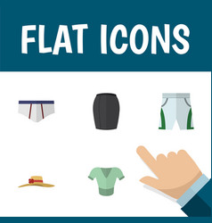 Flat icon clothes set of stylish apparel casual vector