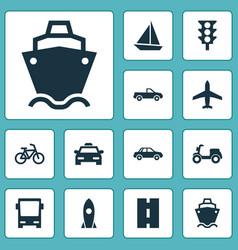 Shipment icons set collection of yacht bicycle vector