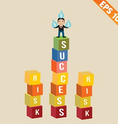 Cartoon businessman stand on success block - vector