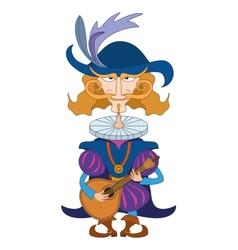 Noble cavalier with mandolin vector image