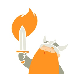 Viking holding sword vector