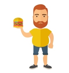 Hamburger and a man vector