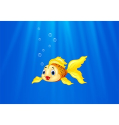 Cartoon goldfish swimming in the water vector
